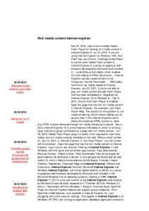 Rich media content internet explorer