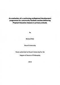 Richard Blair. Brunel University. Thesis submitted to Brunel University for the. Degree of Doctor of Philosophy