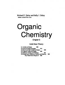 Richard F. Daley and Sally J. Daley  Organic Chemistry. Chapter 5. Acid-Base Theory