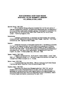 RICHARDSON HERITAGE ROOM MICHAEL ALEX MOSSEY LIBRARY HILLSDALE COLLEGE