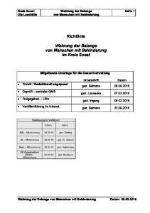 Richtlinie. Wahrung der Belange von Menschen mit Behinderung im Kreis Soest