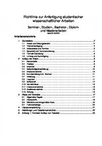 Richtlinie zur Anfertigung studentischer wissenschaftlicher Arbeiten