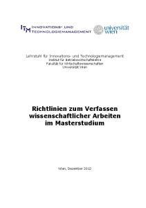 Richtlinien zum Verfassen wissenschaftlicher Arbeiten im Masterstudium