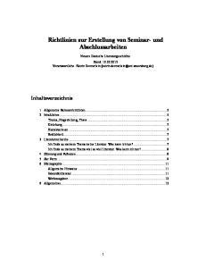 Richtlinien zur Erstellung von Seminar- und Abschlussarbeiten