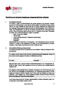 Richtlinien zur formalen Gestaltung wissenschaftlicher Arbeiten