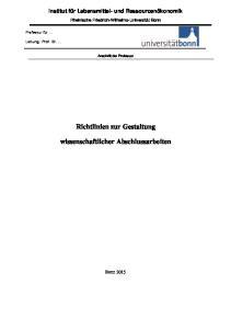 Richtlinien zur Gestaltung. wissenschaftlicher Abschlussarbeiten