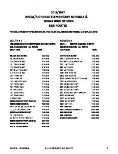 RICHVALE ELEMENTARY SCHOOLS & BIGGS HIGH SCHOOL BUS ROUTES
