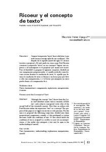 Ricoeur y el concepto de texto*