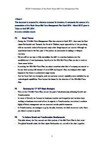 RICOH Presentation of the Ricoh Group Mid-Term Management Plan