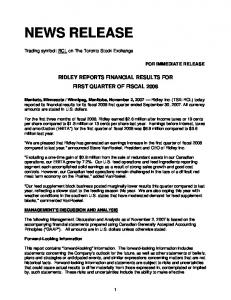 RIDLEY REPORTS FINANCIAL RESULTS FOR FIRST QUARTER OF FISCAL 2008
