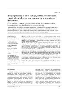 Riesgo psicosocial en el trabajo, estrés autopercibido y cortisol en saliva en una muestra de urgenciólogos de Granada