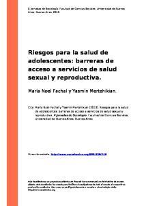 Riesgos para la salud de adolescentes: barreras de acceso a servicios de salud sexual y reproductiva