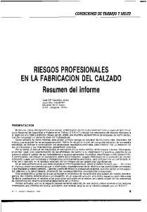 RIESGOS PROFESIONALES EN LA FABRICACION DEL CALZADO Resumen del informe
