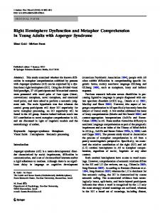 Right Hemisphere Dysfunction and Metaphor Comprehension in Young Adults with Asperger Syndrome