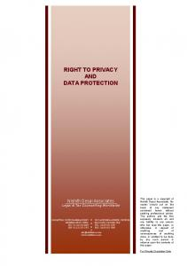 RIGHT TO PRIVACY AND DATA PROTECTION