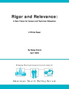 Rigor and Relevance: