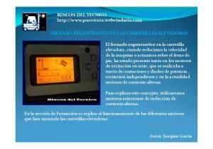 RINCON DEL TECNICO  FRENADO REGENERATIVO EN LAS CARRETILLAS ELEVADORAS