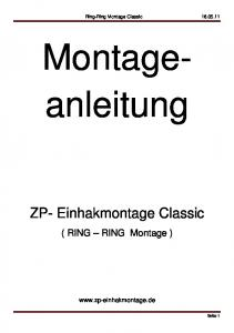 Ring-Ring Montage Classic Montageanleitung. ZP- Einhakmontage Classic. ( RING RING Montage )