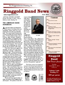 Ringgold Band News. As the band progressed through the. Ringgold Band. Fall Dinner Concert. Contents Page 1 Annual Dinner Concert