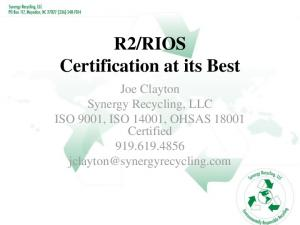 RIOS Certification at its Best