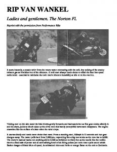 RIP VAN WANKEL. Ladies and gentlemen. The Norton Fl. Reprint with the permission from Performance Bike