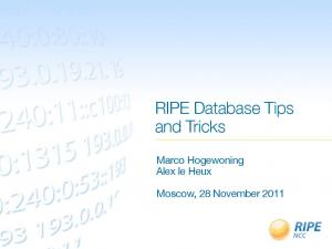 RIPE Database Tips and Tricks