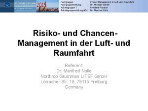 Risiko- und Chancen- Management in der Luft- und Raumfahrt