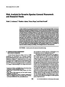 Risk Analysis for Invasive Species: General Framework and Research Needs