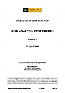 RISK ANALYSIS PROCEDURES