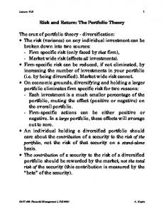 Risk and Return: The Portfolio Theory