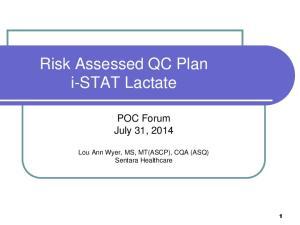 Risk Assessed QC Plan i-stat Lactate