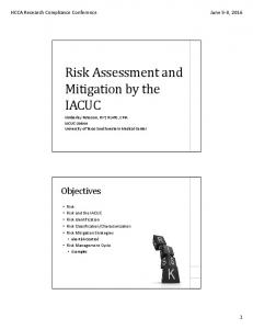 Risk Assessment and Mitigation by the IACUC