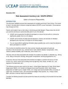 Risk Assessment Inventory List: SOUTH AFRICA