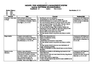 RISK ASSESSMENT & MANAGEMENT SYSTEM