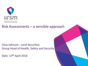 Risk Assessments a sensible approach