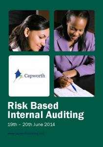 Risk Based Internal Auditing. 19th 20th June