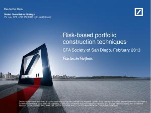Risk-based portfolio construction techniques