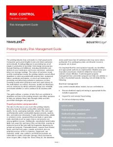 RISK CONTROL. Printing Industry Risk Management Guide. Risk Management Guide. INDUSTRYEdge. Travelers Canada