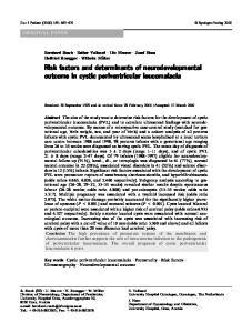Risk factors and determinants of neurodevelopmental outcome in cystic periventricular leucomalacia