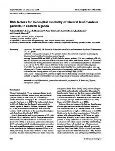 Risk factors for in-hospital mortality of visceral leishmaniasis patients in eastern Uganda