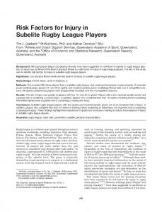 Risk Factors for Injury in Subelite Rugby League Players