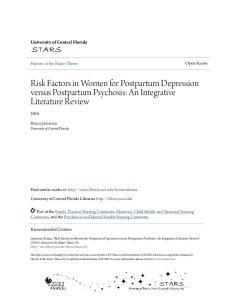 Risk Factors in Women for Postpartum Depression versus Postpartum Psychosis: An Integrative Literature Review