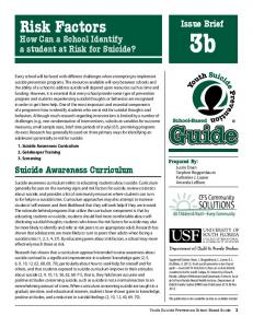 Risk Factors. Issue. Brief. How Can a School Identify a student at Risk for Suicide? Prepared By:
