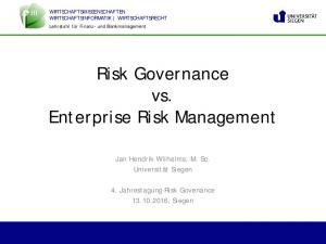 Risk Governance vs. Enterprise Risk Management