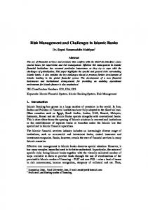 Risk Management and Challenges in Islamic Banks