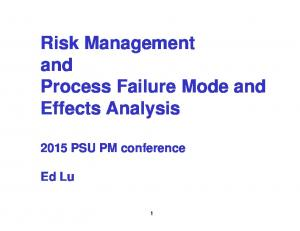 Risk Management and Process Failure Mode and Effects Analysis
