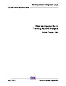 Risk Management and Training Hazard Analysis