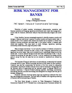 RISK MANAGEMENT FOR BANKS
