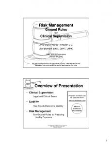 Risk Management Ground Rules for Clinical Supervision. Overview of Presentation