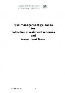 Risk management guidance for collective investment schemes and investment firms